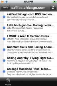 sailfastchicago.com RSS feed on Apple iPhone